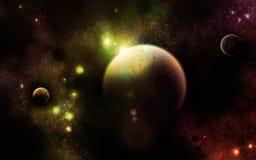 The Triumvirate Universe. Three planets in an alternative universe stock illustration