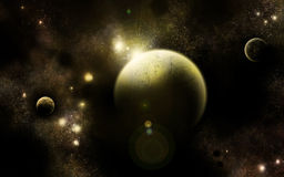 The Triumvirate Universe Yellow. Three planets in an alternative universe, yellow/green colored stock illustration