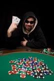 Triunfo con dos as en póker Imágenes de archivo libres de regalías