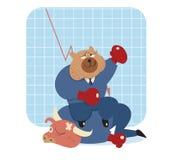 Triunfo de la historieta del oso sobre toro en mercado de acción Foto de archivo libre de regalías