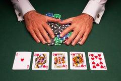 Triunfo del rubor real de la mano de póker Fotos de archivo libres de regalías