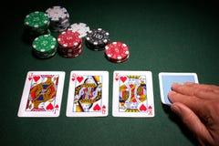 Triunfo del rubor real de la mano de póker foto de archivo libre de regalías