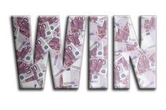 triunfo La inscripción tiene una textura de la fotografía, que representa muchas 500 cuentas de dinero euro ilustración del vector