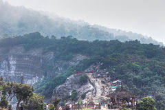 Trivalling around the mountain of Tangkuban Perahu in Bandung, Indonesia. Poor Lighting--Image has exposure issues, unfavorable lighting conditions, and/or Royalty Free Stock Photos