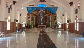 Inside view of a Latin Catholic Church in India royalty free stock photography