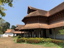 Trivandrum Tiruvaṉantapuraṁ, Kerala, India, March, 12, 2019. Ancient wooden Palace of  Maharaja Padmanabhapuram in Trivand stock photography