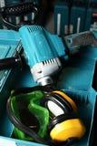 Trivello, trasduttori auricolari ed occhiali di protezione Fotografia Stock