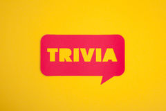 The trivia cardboard text sign. The trivia word placed in a red cloud on yellow stock images