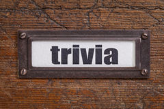 Trivia - file cabinet label. Bronze holder against grunge and scratched wood Stock Image