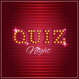 Trivia game or quiz show background with light bulbs. Words trivia night made of light box letters. Trivia game or quiz show background with light bulbs, vector stock illustration