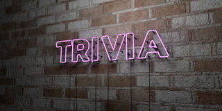 TRIVIA - Glowing Neon Sign on stonework wall - 3D rendered royalty free stock illustration Royalty Free Stock Image