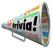 Trivia Knowledge Quiz Bullhorn Megaphone Test Pop Culture. Trivia words on a bullhorn or megaphone to quiz or test your knowledge on pop culture and answer Royalty Free Stock Photo