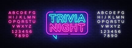 Trivia night announcement neon signboard vector. Light Banner, Design element, Night Neon Advensing. Vector illustration. Editing text neon sign vector illustration