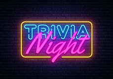 Free Trivia Night Neon Sign Vector. Quiz Time Design Template Neon Sign, Light Banner, Neon Signboard, Nightly Bright Royalty Free Stock Images - 127213199