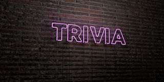 TRIVIA -Realistic Neon Sign on Brick Wall background - 3D rendered royalty free stock image Royalty Free Stock Photography