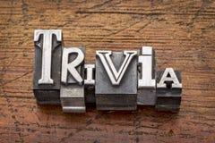 Trivia word in metal type. Trivia word in vintage metal type printing blocks over grunge wood Stock Photo