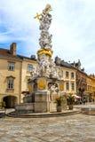 Trójcy kolumna na Hauptplatz w Baden bei Wien Zdjęcia Stock
