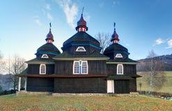 Träkyrka för grekisk katolik, UNESCO, Slovakien, Nizny Komarnik Arkivfoto