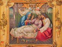 Trnava - śmierć st. Joseph rzeźbiąca ulga zdjęcie stock