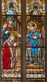 Trnava -圣约翰Nepomuk和窗玻璃形式19 分 在圣尼古拉斯教会里 免版税库存照片