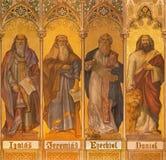 Trnava -大先知艾赛尔,耶利米, Ezekiel,丹尼尔新哥特式壁画  库存照片
