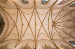 Trnava - The ceiling in presbytery of gothic St. Nicholas church. Stock Images