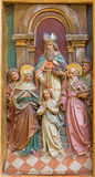 Trnava - Espousals of Virgin Mary and st. Joseph carved relief from side altar in Jesuits church from 19. cent. Royalty Free Stock Images