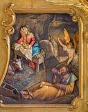 Trnava - geschnitzte Entlastung der Geburt Christi Lizenzfreie Stockfotografie