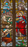 Trnava - The holy queen st. Elizabeth from Hungary on windowpane form 19. cent. in St. Nicholas church. Stock Images