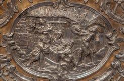 Trnava - il sollievo del metallo della natività sull'altare nella cappella di vergine Maria Fotografie Stock Libere da Diritti
