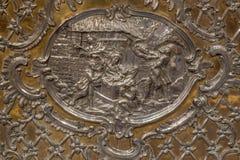 Trnava - il sollievo del metallo della natività sull'altare in vergine Maria Fotografia Stock Libera da Diritti