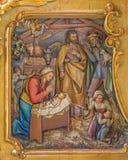 Trnava - la adoración de pastores talló alivio Foto de archivo libre de regalías