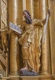 Trnava - la statue polychrome de St Paul l'apôtre dans l'église de jésuites Photographie stock libre de droits