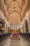 Trnava - The nave of the gothic St. Nicholas church. Royalty Free Stock Images