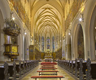 Trnava - The nave of the gothic St. Nicholas church. Royalty Free Stock Image