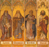 Trnava - The neo-gothic fresco of big prophets Isaiah, Jeremiah, Ezekiel, Daniel Stock Photo