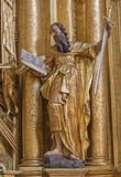 Trnava - The polychrome statue of saint Paul the apostle in the Jesuits church. Royalty Free Stock Photography