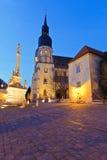Trnava, Slovakia. Monument and a church of saint Nicolaus in centre of Trnava, Slovakia Royalty Free Stock Image