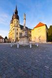 Trnava, Slovakia. Monument and a church of saint Nicolaus in centre of Trnava, Slovakia Royalty Free Stock Photos
