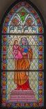 Trnava - St Ann von der Fensterscheibe von Kirche St. Helen von 19 cent Lizenzfreie Stockfotos