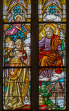 Trnava - The st. Joseph and the bishop on windowpane form 19. cent. in St. Nicholas church. Royalty Free Stock Photography