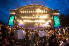 Tränga ihop i en konsert på Rock festivalen för En Seine Arkivfoton