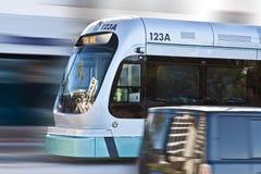 Tránsito ligero rápido del carril del metro Imagenes de archivo