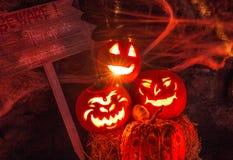 Trío de la calabaza de Halloween Foto de archivo
