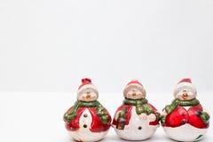 Trío de muñecos de nieve Foto de archivo libre de regalías