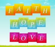 Tro Hope, förälskelse stock illustrationer