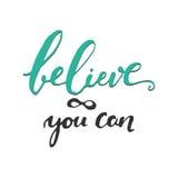 Tro i dig Inspirerande och motivationcitationstecken Royaltyfri Bild