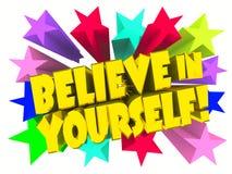Tro i dig slogan Guld- text med livliga stjärnor royaltyfri fotografi
