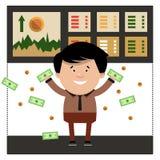 Troca bem sucedida na bolsa de valores A monitoração do indi Fotografia de Stock