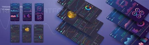 Troca de comércio app na tela do telefone Ui móvel do cryptocurrency da operação bancária Vetor em linha eps 10 da relação da com ilustração royalty free